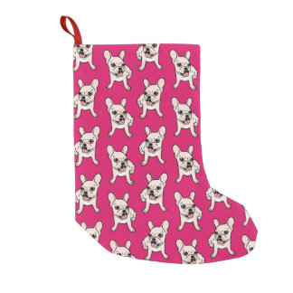 Cute cream Frenchie is ready to play Small Christmas Stocking