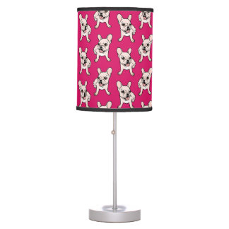 Cute cream Frenchie is ready to play Table Lamp