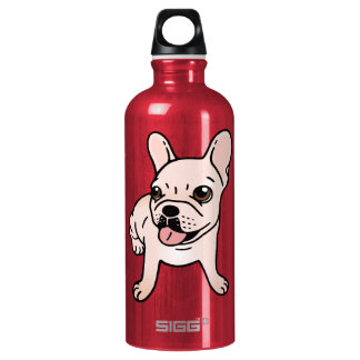 Cute cream Frenchie is ready to play Water Bottle