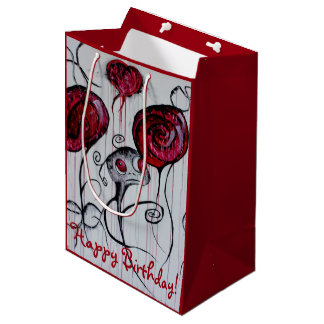 Cute & Creepy Creature Red Pink Goth Fun Sweet Art Medium Gift Bag