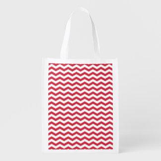 Cute Crimson Red and White Chevron Stripes Market Totes