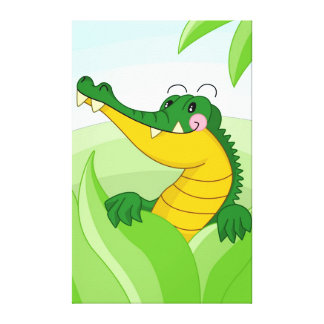 Cute crocodile gallery wrapped canvas