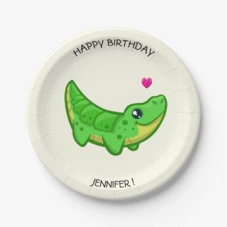 Cute crocodile kawaii cartoon girls name birthday paper plate