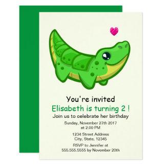 "Cute crocodile kawaii cartoon kids birthday party 3.5"" x 5"" invitation card"