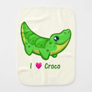 Cute crocodile love kawaii cartoon baby burp cloths