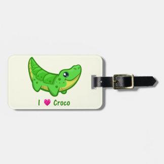 Cute crocodile love kawaii cartoon bag tag