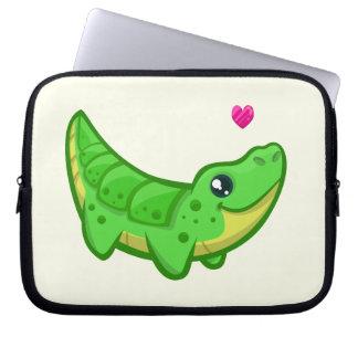 Cute crocodile love kawaii cartoon kids laptop sleeve
