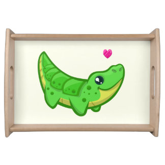 Cute crocodile love kawaii cartoon kids serving tray