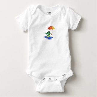 Cute crocodile under the rain baby onesie
