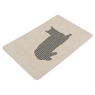 Cute Cross Stitch Cat Linen Texture Floor Mat
