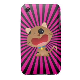 Cute Crying Cartoon Kitten Pink & Black iPhone 3 Case-Mate Case