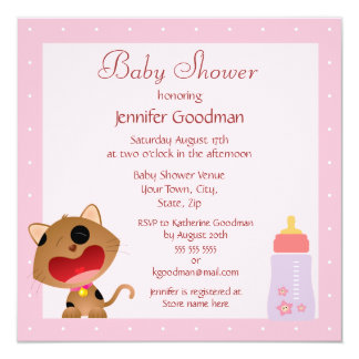 Cute Crying Kitten Pink Baby Shower 5.25x5.25 Square Paper Invitation Card