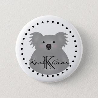 Cute Cuddly Australia Baby Koala Bear Monogram 2 Inch Round Button