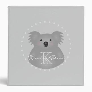 Cute Cuddly Australia Baby Koala Bear Monogram Binder