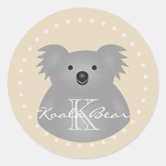 Cute Cuddly Australia Baby Koala Bear Monogram Classic Round Sticker