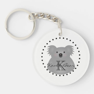 Cute Cuddly Australia Baby Koala Bear Monogram Keychain