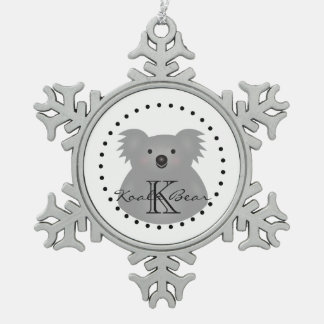 Cute Cuddly Australia Baby Koala Bear Monogram Snowflake Pewter Christmas Ornament