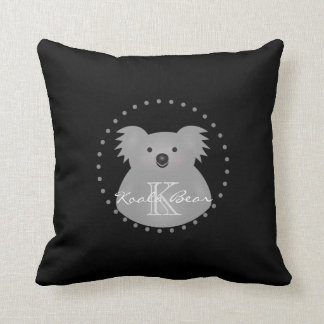 Cute Cuddly Australia Baby Koala Bear Monogram Throw Pillow