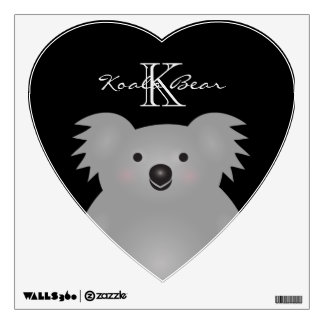 Cute Cuddly Australia Baby Koala Bear Monogram Wall Decal