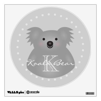 Cute Cuddly Australia Baby Koala Bear Monogram Wall Sticker