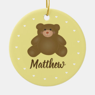 Cute Cuddly Brown Baby Grizzly Teddy Bear Monogram Ceramic Ornament