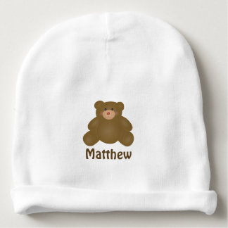 Cute Cuddly Brown Baby Teddy Bear And Polka Dots Baby Beanie