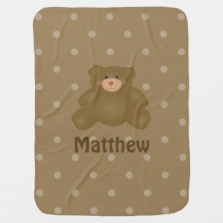 Cute Cuddly Brown Baby Teddy Bear And Polka Dots Baby Blanket