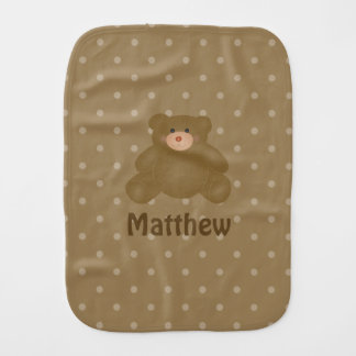 Cute Cuddly Brown Baby Teddy Bear And Polka Dots Burp Cloth