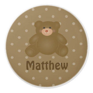 Cute Cuddly Brown Baby Teddy Bear And Polka Dots Ceramic Knob