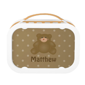 Cute Cuddly Brown Baby Teddy Bear And Polka Dots Lunch Box