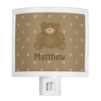 Cute Cuddly Brown Baby Teddy Bear And Polka Dots Night Lites