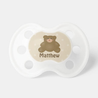 Cute Cuddly Brown Baby Teddy Bear And Polka Dots Pacifier