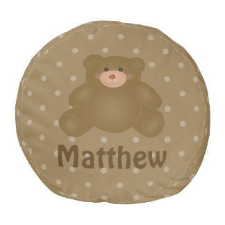 Cute Cuddly Brown Baby Teddy Bear And Polka Dots Pouf