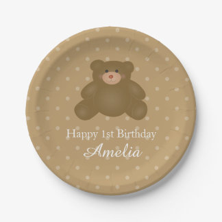 Cute Cuddly Brown Baby Teddy Bear Birthday Party Paper Plate