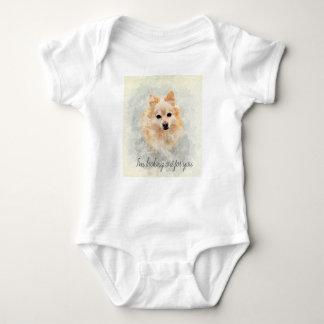Cute cuddly pomeranian dog baby bodysuit