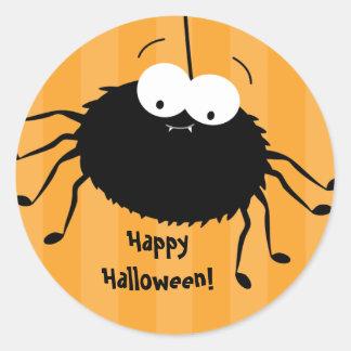 Cute Cuddly Spider Halloween Envelope Seals Round Sticker
