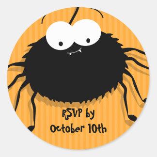 Cute Cuddly Spider Halloween RSVP Envelope Seals Round Sticker