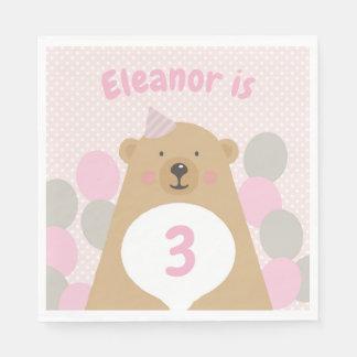 Cute Cuddly Teddy Bear Birthday Paper Napkin