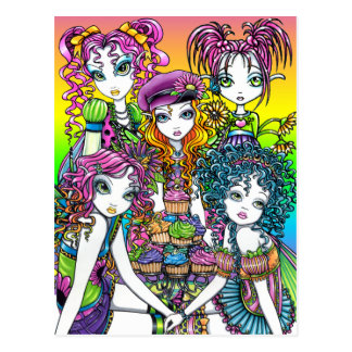 Cute Cup Cake Rainbow Fairies Party Postcard