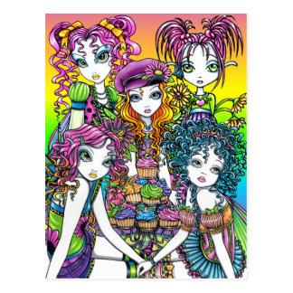Cute Cup Cake Rainbow Fairies Party Postcard