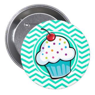 Cute Cupcake Aqua Green Chevron Pins