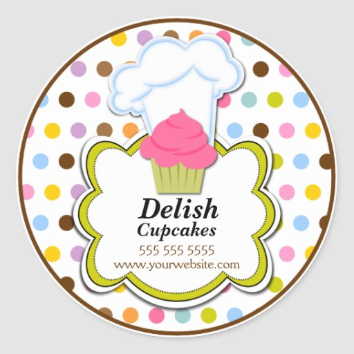 Cute Cupcake & Baker's Hat Bakery Stickers
