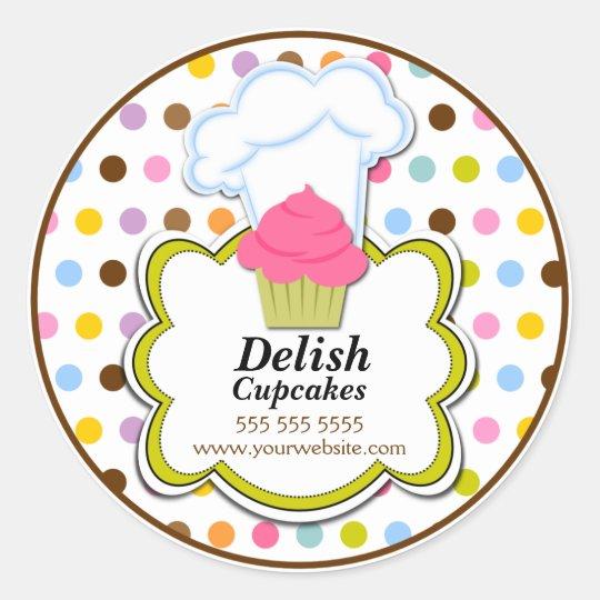 Cute Cupcake & Baker's Hat Bakery Stickers