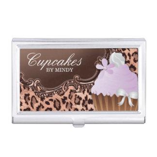 Cute Cupcake Bakery Vintage Leopard Business Card Holder