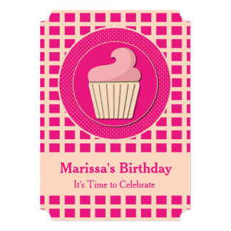 Cute Cupcake Birthday Party Invitations