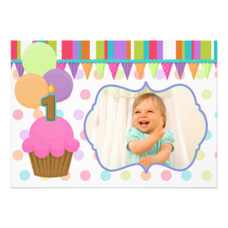 Cute Cupcake Birthday Photo Invitation one