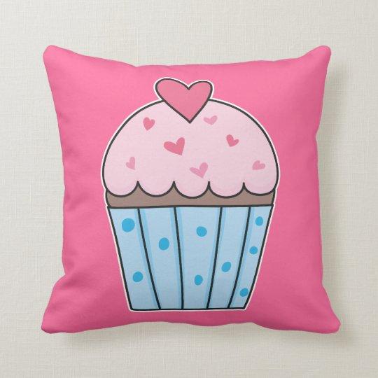Cute Cupcake (blue/pink) Throw Pillow