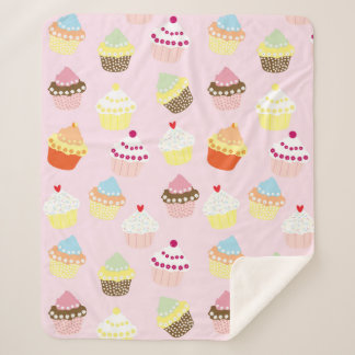 Cute Cupcake Food with Pink background pattern Sherpa Blanket