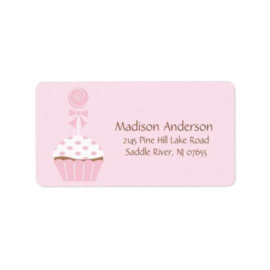 CUTE Cupcake Lollipop Return Address Label