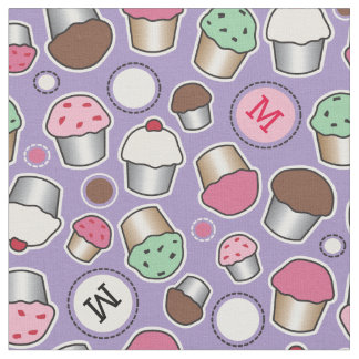 Cute Cupcake Monogram Pattern Fabric